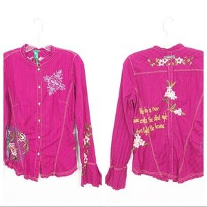 3J Workshop Johnny Was Embroidered Shirt Fuchsia